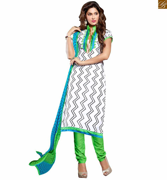 Casual clothes indian salwar kameez designs for working women off-white chanderi-cotton chinese collar design on dress with green cotton punjabi style bottom Image