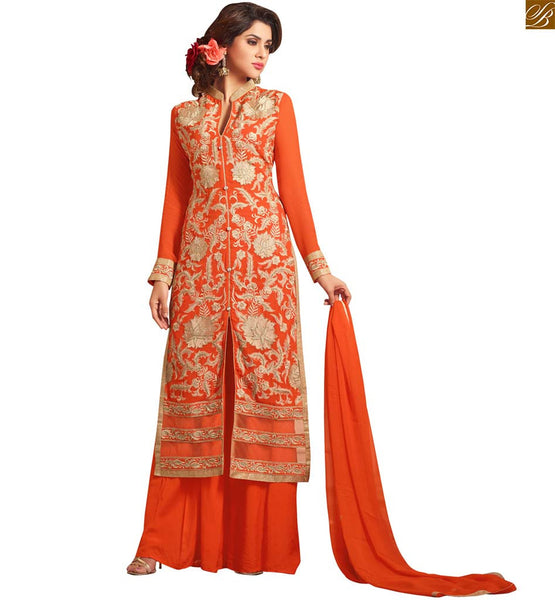 Photo of Latest pakistani dresses salwar kameez design 2015 palazzo suits orange faux-georgette copper floral zari embroidered dress with orange santoon palazzo type bottom