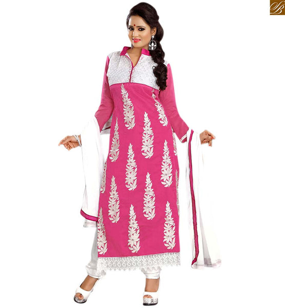 Punjabi suits latest designs salwar kameez 2015 best dress pink cotton stone work and heavy floral embroidered salwar kameez with off-white churidar bottom Image