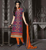 SHALWAR KAMEEZ DESIGNS BY KNOWN INDIAN DESIGNERS BLUE CHANDERI COTTON TOP WITH ORANGE SANTOON BOTTOM AND NAZNEEN ODHNI