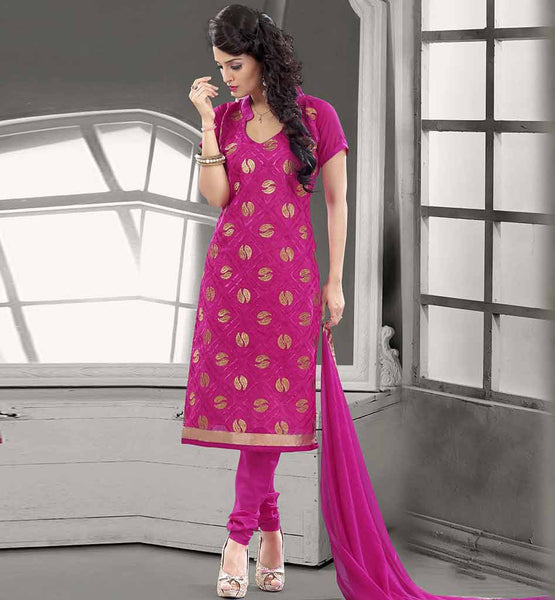 SHALWAR KAMEEZ DESIGNS OF 2015 DRESSES COLLECTION  CHANDERI COTTON PINK STRAIGHT CUT SUIT WITH SALWAR AND CHIFFON DUPATTA