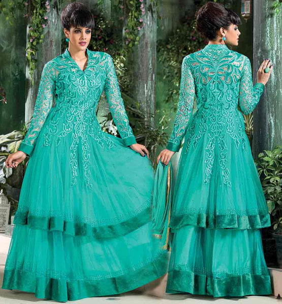 UNIQUE SALWAR KAMEEZ DESIGNS ONLINE SHOPPING INDIA SMART GOWN LOOK ANARKALI DRESS WITH RICH EMBROIDERY DRESS ON FRONT AND BACK