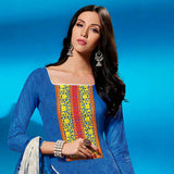 ATTRACTIVE BLUE SELF PRINTED AND EMBROIDRED SALWAR SUIT WITH DUPATTA