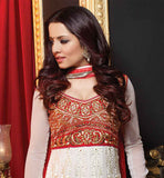CELINA JAITLEY OFF-WHITE GEORGETTE ANARKALI WITH MAROON SALWAR AND CHIFFON DUPATTA FLOOR LENGTH STYLE CELEBRITY INSPIRED ATTIRE THAT YOU CAN WEAR AT THE WEDDINGS AND PARTIES