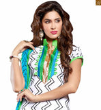 New collection of casual clothes indian salwar kameez designs for working women in india off-white chanderi-cotton chinese collar design on dress with green cotton punjabi style bottom Photo
