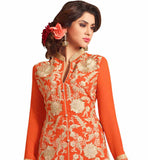 photo of New latest pakistani dresses salwar kameez design 2015 palazzo suits for every indian women orange faux-georgette copper floral zari embroidered dress with orange santoon palazzo type bottom