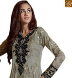PARTY WEAR STRAIGHT CUT KAMEEZ ENHANCED WITH ZARI, RESHAM EMBROIDERY, TIKIWORK AND LACE BORDER WITH STYLISH PALLAZO BOTTOM GREY GEORGETTE SUIT WITH MATCHING SANTOON SALWAR AND BLACK CHIFFON DUPATTA