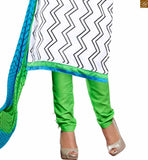 Off-white chanderi-cotton chinese collar design on dress with green cotton punjabi style bottom Pic