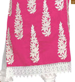 Pink cotton stone work and heavy floral embroidered salwar kameez with off-white churidar bottom Pic