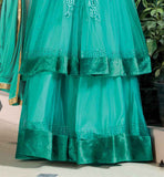 SOFT-NET SEA GREEN DOUBLE LAYERED TOP WITH SANTOON BOTTOM CHIFFON DUPATTA AND SATIN INNER UNIQUE SALWAR KAMEEZ DESIGNS ONLINE SHOPPING INDIA