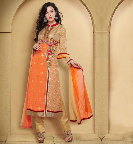 STYLISH BAZAAR AWESOME ORANGE AND CREAM PARTY WEAR SALWAR SUIT