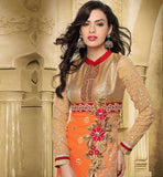 EXQUISITE STRAIGHT PATTERN ORANGE AND CREAM PARTY WEAR SALWAR SUIT