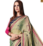MAGNETIC HALF AND HALF CREAM AND BLUE SAREE WITH BLUE AND PINK BLOUSE RTROS10010