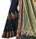 STYLISH BAZAAR MAGNETIC HALF AND HALF CREAM AND BLUE SAREE WITH BLUE AND PINK BLOUSE RTROS10010