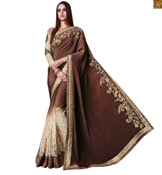 STYLISH BAZAAR PRESENTS PLEASING COFFEE AND CREAM SARI MATCHED WITH A CREAM BLOOUSE RTROS10011