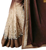 STYLISH BAZAAR INTRODUCES PLEASING COFFEE AND CREAM SARI MATCHED WITH A CREAM BLOOUSE RTROS10011