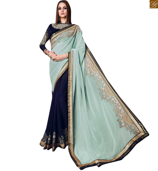 STYLISH BAZAAR  PRETTY BLUE AND LIGHT GREEN SAREE COMPLEMENTED WITH A BLUE BLOUSE RTROS10012