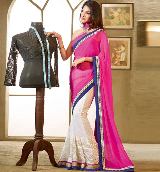 OUT-STANDING OFF-WHITE & PINK DESIGNER SAREE RTFE10015-stylishbazaar -  OUT-STANDING OFF-WHITE & PINK DESIGNER SAREE RTFE10015 - stylishbazaar -  Diwali Shopping, Deepawali Shopping, Diwali 2014, Festive Trends 2014, Designer Saris, Designer Sarees, Buy Online Sarees, Buy Sarees Online, Partywear Sarees, Designer Saris Online, Saree Online Shoppping, Saree Designs, Blouse Designs