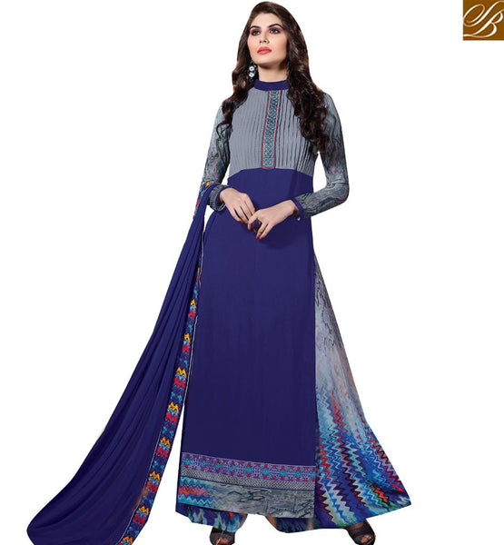 FASCINATING STRAIGHT CUT PLAZZO PUNJABI SUIT VDENZ10019 BY NAVY BLUE