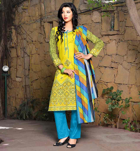 INDIAN FASHION DESIGNERS COLLECTION OF SHALWAR KAMEEZ DESIGNS OF SUITS FOR WOMEN  BEST APPAREL FOR STYLE LOVERS YELLOW TOP WITH SKYBLUE TROUSER AND MULTICOLOR HIJAAB