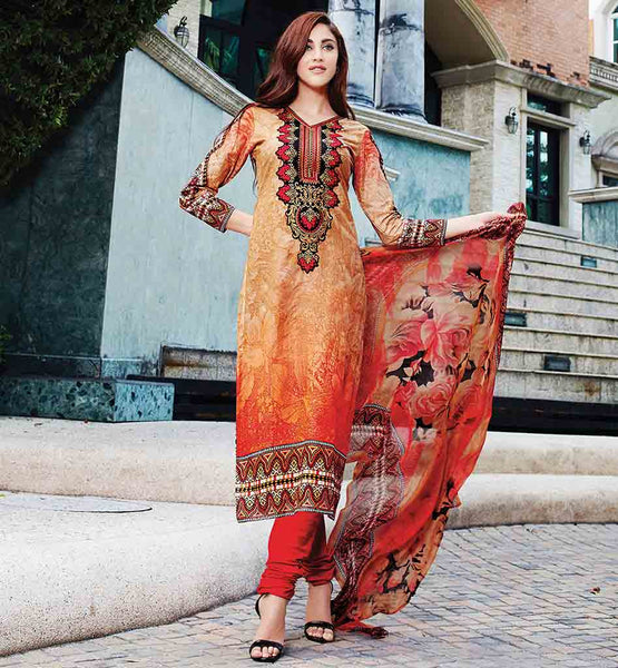 PRINTED SALWAR KAMEEZ ONLINE SHOPPING INDIA ORANGE COLOR PURE COTTON FABRIC SUIT WITH MATCHING POLY COTTON SALWAR AND PURE BAMBERG DUPATTA