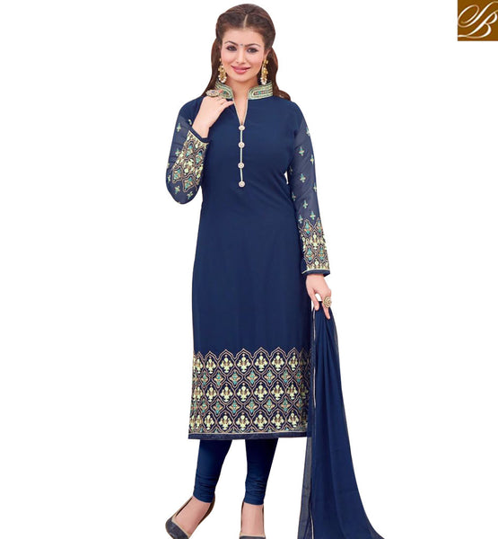 STYLISH BAZAAR BOLLYWOOD ACTRESS AYESHA TAKIA'S STRIKING NAVY BLUE COLORED DESIGNER SALWAR KAMEEZ MAAYT1001F