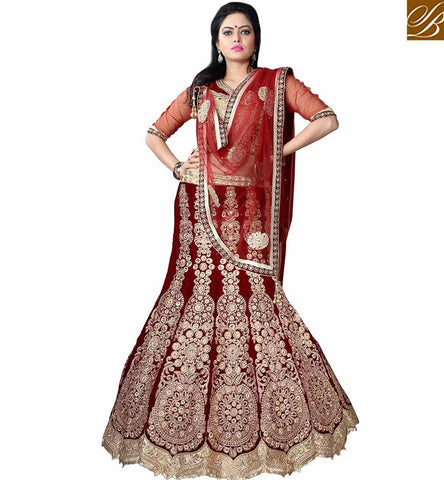STYLISH BAZAAR SPLENDID BRIDAL LEHENGA CHOLI DESIGN WITH HEAVY JARI EMBROIDERY WORK MCU11001