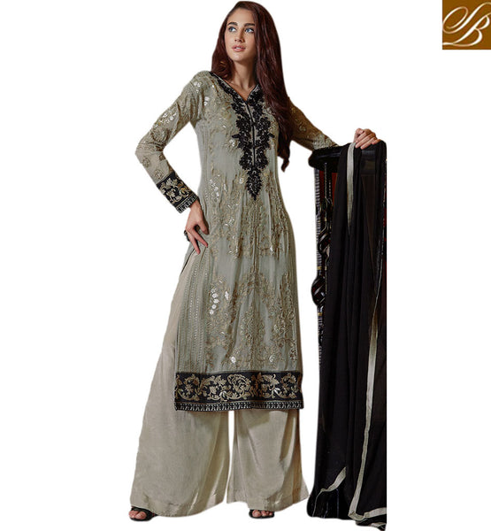 PUNJABI SUIT DESIGN TRADITIONAL DRESS DESIGNS PLAZZO SALWAR KAMEEZ PARTY WEAR STRAIGHT CUT KAMEEZ ENHANCED WITH ZARI, RESHAM EMBROIDERY, TIKIWORK AND LACE BORDER WITH STYLISH PALLAZO BOTTOM