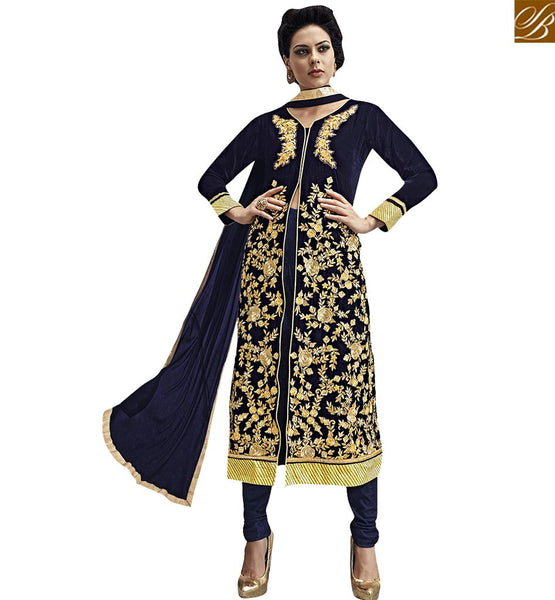 STYLISH BAZAAR PRESENTS BEAUTIFUL BLUE MIDDLE SLIT SALWAAR KAMEEZ VDKAS1001