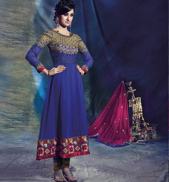REGAL LOOK GEORGETTE  ROYAL BLUE  DESIGNER ANARKALI DRESS 1439