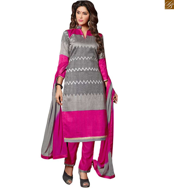 Back neck designs for salwar kameez cute pakistani ladies suit grey bhagalpuri-silk v type high neck designer salwar kameez with piping patch work and border work Image
