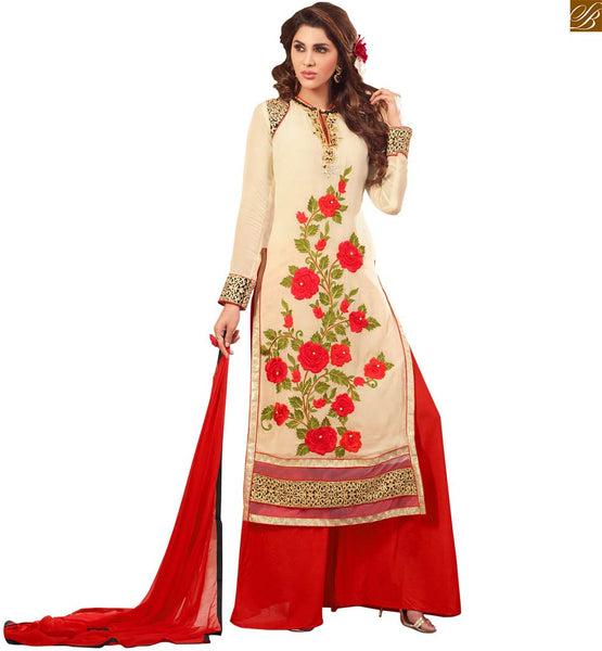 Image of Boutique suits neck design formal dress patterns shop online cream faux-georgette heavy floral embroidered salwar kameez with red santoon designer bottom