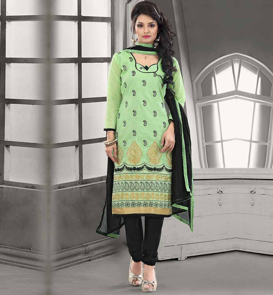 SHALWAR KAMEEZ DESIGNS BEST OF PAKISTANI FASHION CHANDERI COTTON GREEN STRAIGHT CUT SUIT WITH BLACK SALWAR AND CHIFFON DUPATTA