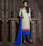 SHALWAR KAMEEZ DESIGNS COLLECTION OF LONG DRESS OFF-WHITE CHANDERI COTTON TOP WITH BLUE SANTOON BOTTOM AND NAZNEEN ODHNI