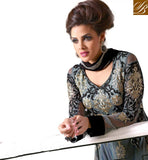 GLAMOROUS GREY ANARKALI WITH SUPERB DESIGNING ON BACK AND NECK