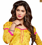 Beautiful ever-stylish suits from our latest pakistani dresses shalwar kameez designs are a bargain for the price offered yellow chanderi cotton puff style three fourth sleeves dress with border and pink cotton bottom Photo