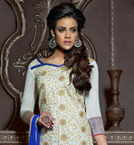 OFF-WHITE CHANDERI COTTON TOP WITH BLUE SANTOON BOTTOM AND NAZNEEN ODHNI FASHIONABLE AND EASY GOING OUTFIT WITH DISTINCTION BEIGE COLOR FLORAL EMBROIDERY DESIGN ALL OVER