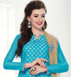 SMART COLOR COMBINATION SALWAR SUIT AND DUPATTA WITH TIKIWORK BLUE STRAIGHT CUT TOP WITH SANTOON CHURIDAR AND NET ODHNI