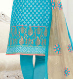 BLUE STRAIGHT CUT TOP WITH SANTOON CHURIDAR AND NET ODHNI SIMPLE SALWAR KAMEEZ DRESS PATTERNS FOR GIRLS