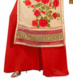Image of Cream faux-georgette heavy floral embroidered salwar kameez with red santoon designer bottom