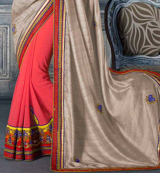 Wedding Gift For 6000 Rupees : GREY & PINK SAREE RTVIP10022 STYLISHBAZAAR WOMENS ONLINE SHOPPING ...