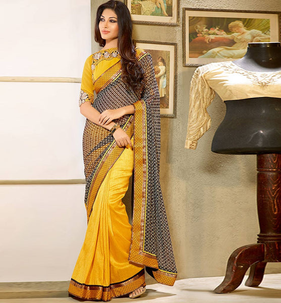BEAUTIFUL BLACK & YELLOW DESIGNER SAREE RTFE10022 - STYLISHBAZAAR - Designer Saris, Designer Sarees, Buy Online Sarees, Buy Sarees Online, Partywear Sarees, Designer Saris Online, Saree Online Shoppping, Saree Designs, Blouse Designs