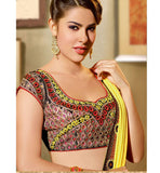 EXCITING PINK & YELLOW DESIGNER SAREE RTFE10024 - StylishBazaar - saree buy online, indian saree buy online, sarees buy online, indian saree online, saree blouse design , buy sarees online, Diwali Shopping, Deepawali Shopping, Diwali 2014, Festive Trends 2014
