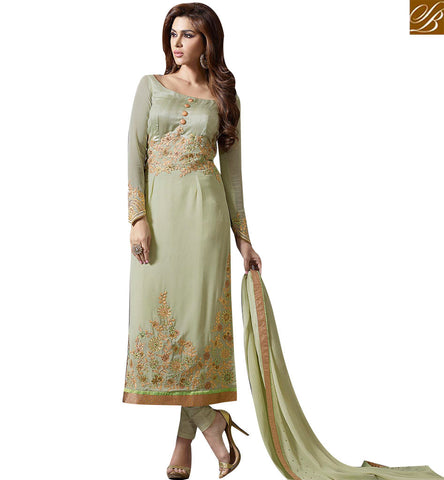 STYLISH BAZAAR GORGEOUS PISTA GREEN STRAIGHT DESIGNER SALWAR KAMEEZ WITH MODERN STYLE SLMUG10026