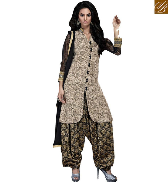 STYLISH BAZAAR BEAUTIFUL CREAM FANCY DESIGNER SALWAAR KAMEEZ DRESS SUIT VDSRY10026
