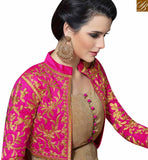 FROM THE HOUSE OF STYLISH BAZAAR LOVELY PINK AND BEIGE ANARKALI DESIGNER DRESS WITH JACKET STYLE SLMUG10027