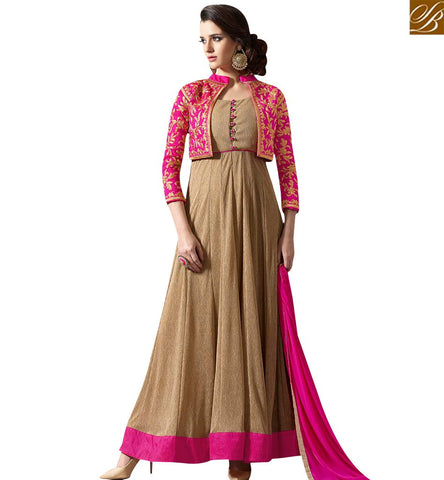 STYLISH BAZAAR LOVELY PINK AND BEIGE ANARKALI DESIGNER DRESS WITH JACKET STYLE SLMUG10027