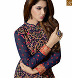 BROUGHT TO YOU BY STYLISH BAZAAR SPLENDID NAVY BLUE HEAVY EMBROIDERED SUITS WITH HIGH NECK STYLE SLMUG10028