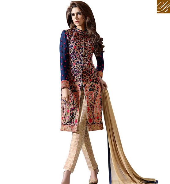 STYLISH BAZAAR SPLENDID NAVY BLUE HEAVY EMBROIDERED SUITS WITH HIGH NECK STYLE SLMUG10028