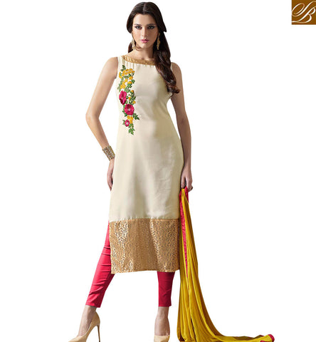 STYLISH BAZAAR ATTRACTIVE CREAM ORANGE AND PINK DESIGNER SUITS WITH DUAL BOTTOM SLMUG10029